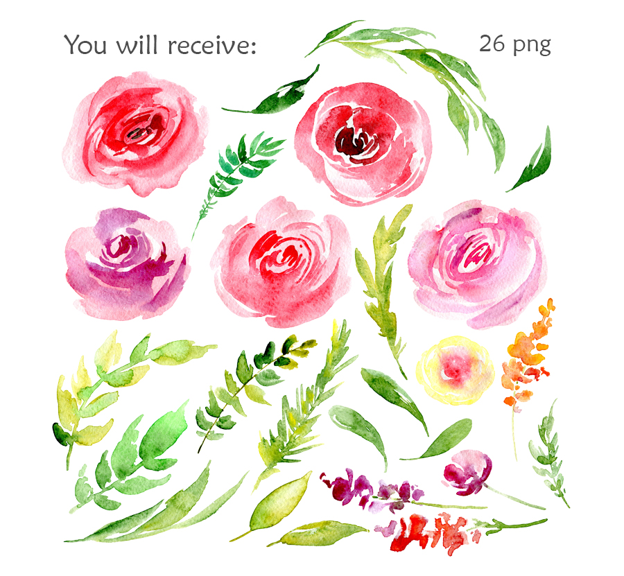 Watercolor red & pink flowers example image 2