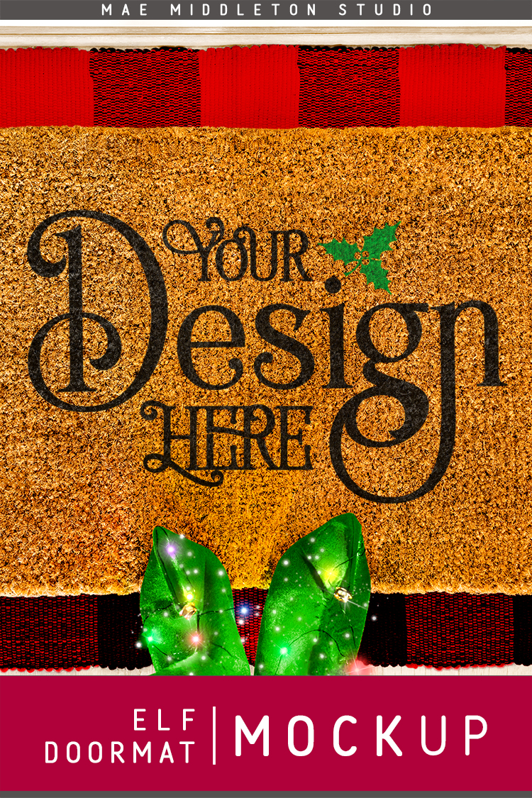 Doormat mock up for Christmas - Elf, styled photo example image 3
