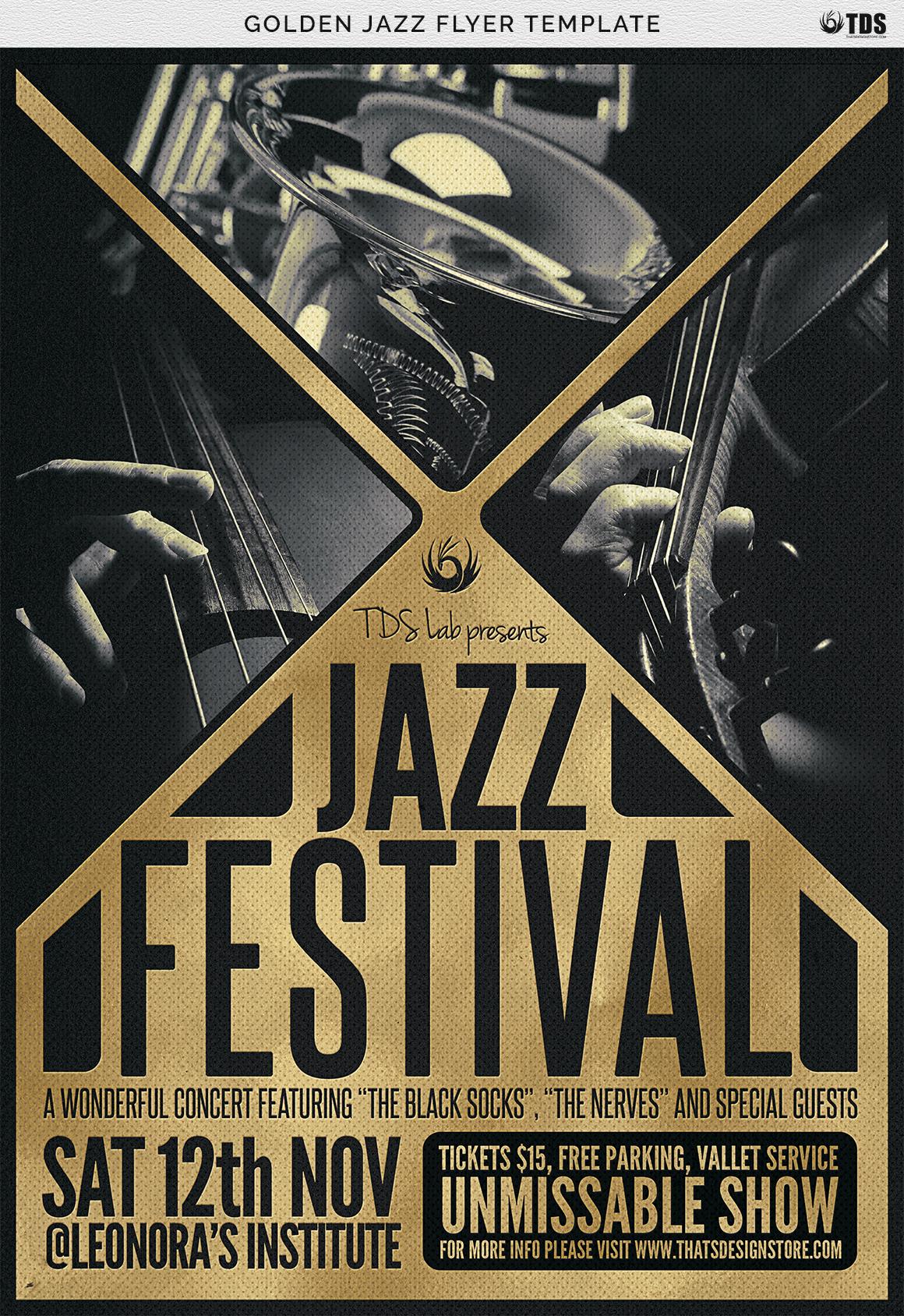 Golden Jazz Flyer Template example image 8