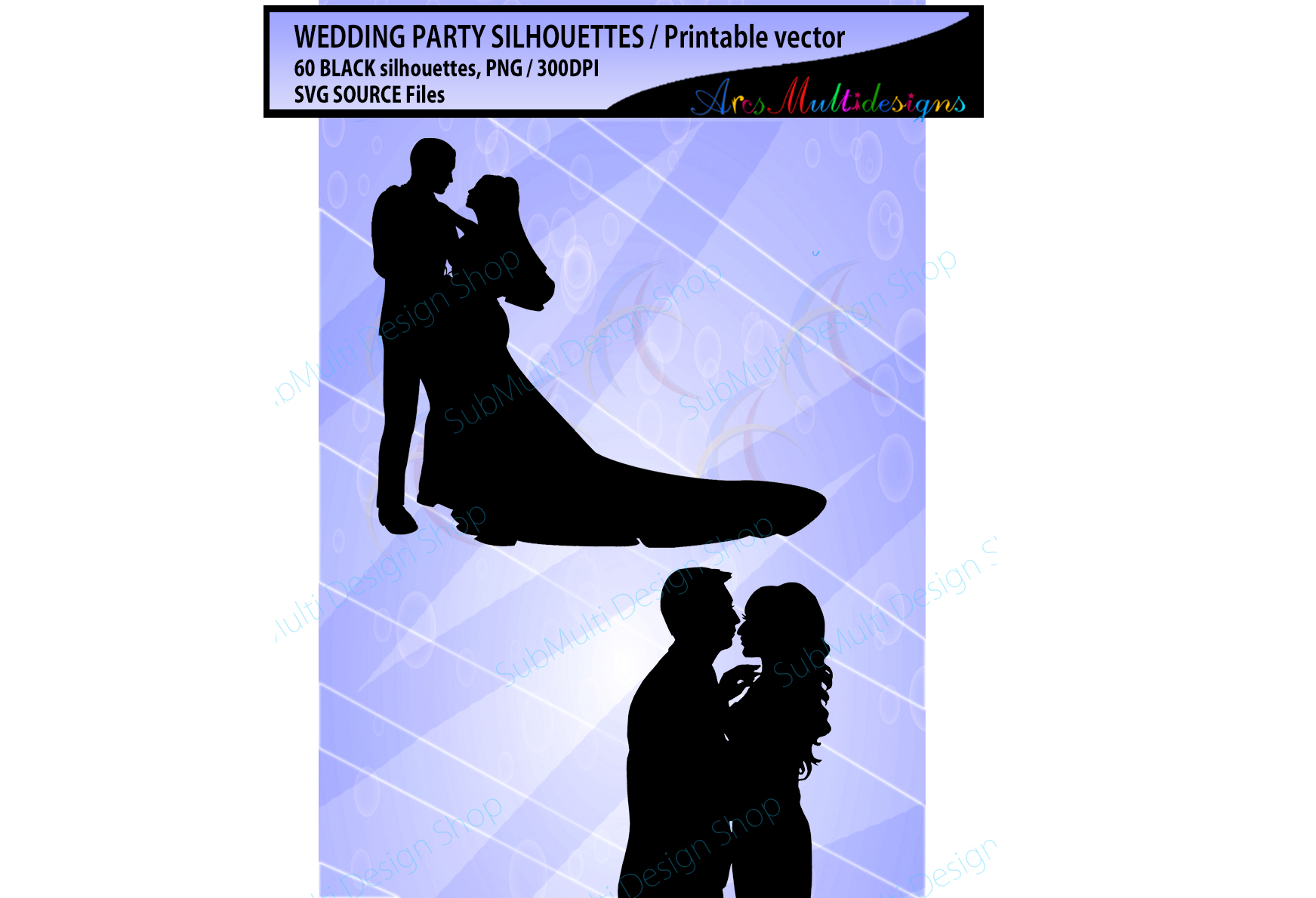 Wedding silhouette SVG / Wedding party silhouette 60 image example image 2