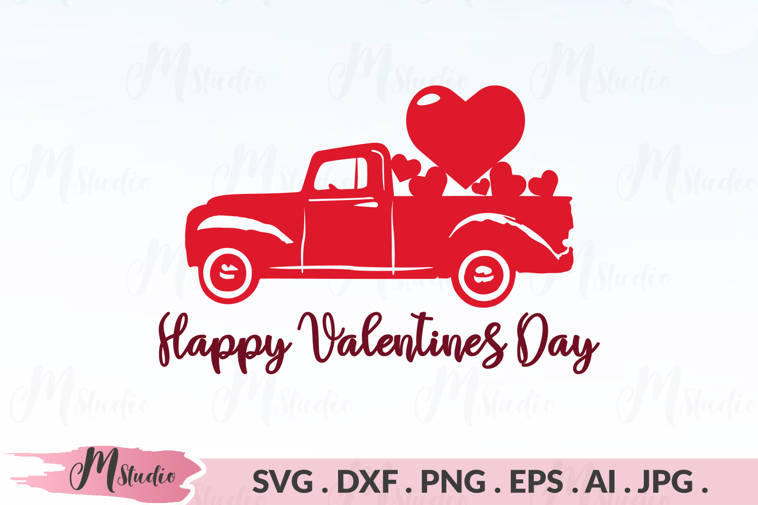 Happy Valentine Day Svg Truck With Hearts Svg