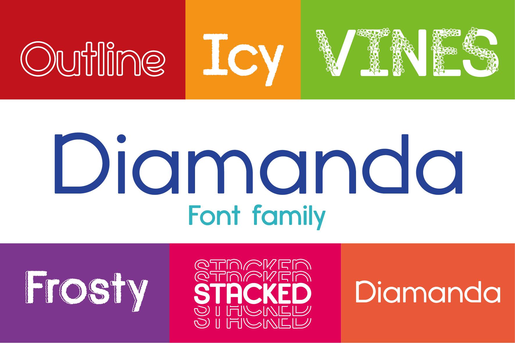 Diamanda Font Family Bundle includes 6 crafting fonts example image 1