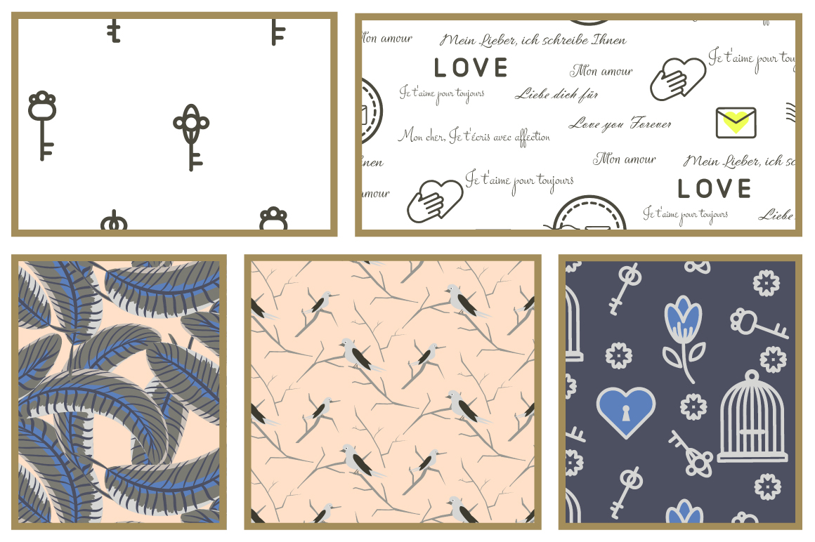 Love Letters Seamless Patterns example image 4