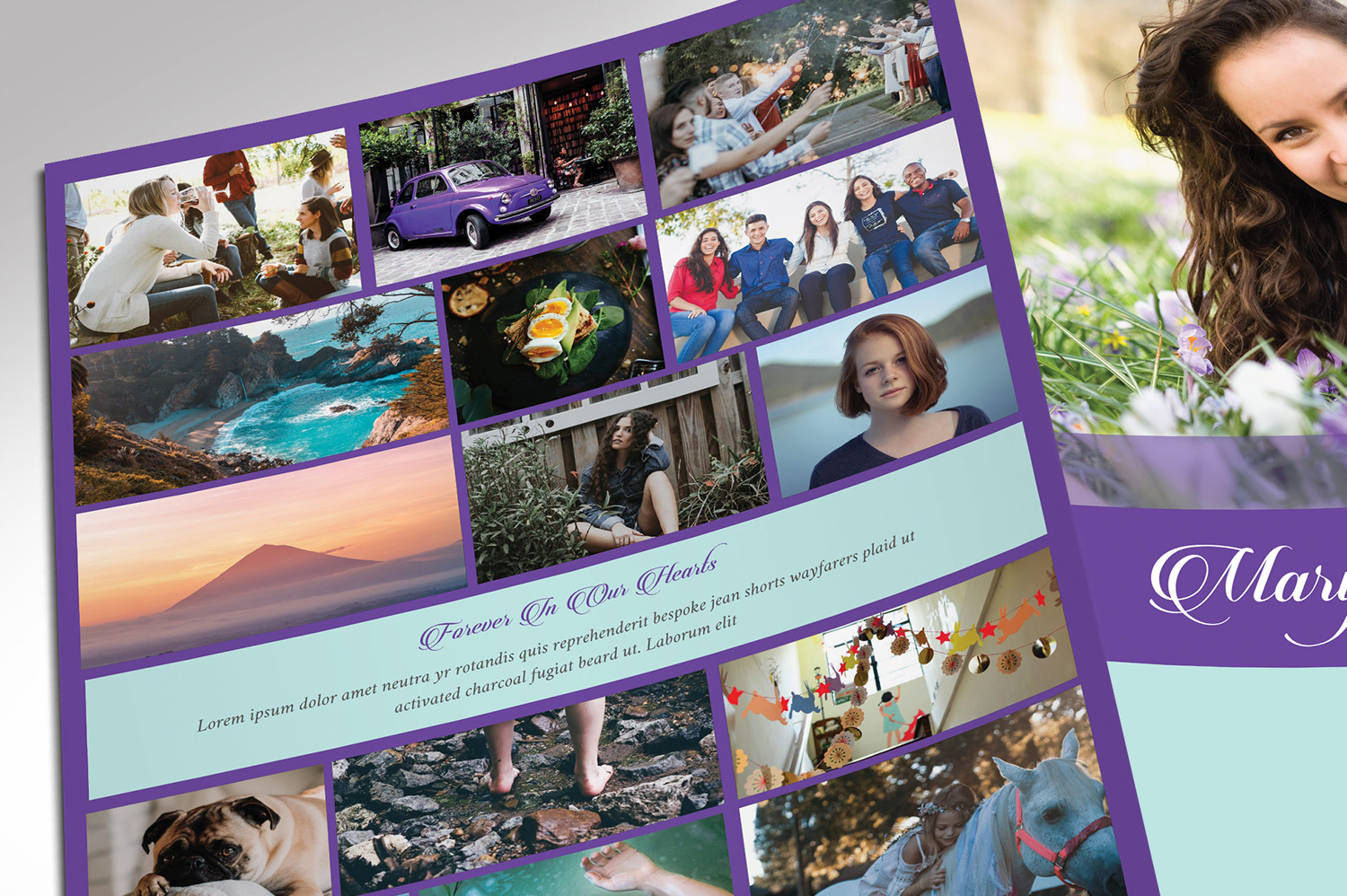 Remember Purple Teal Funeral Program Word Publisher Large example image 6