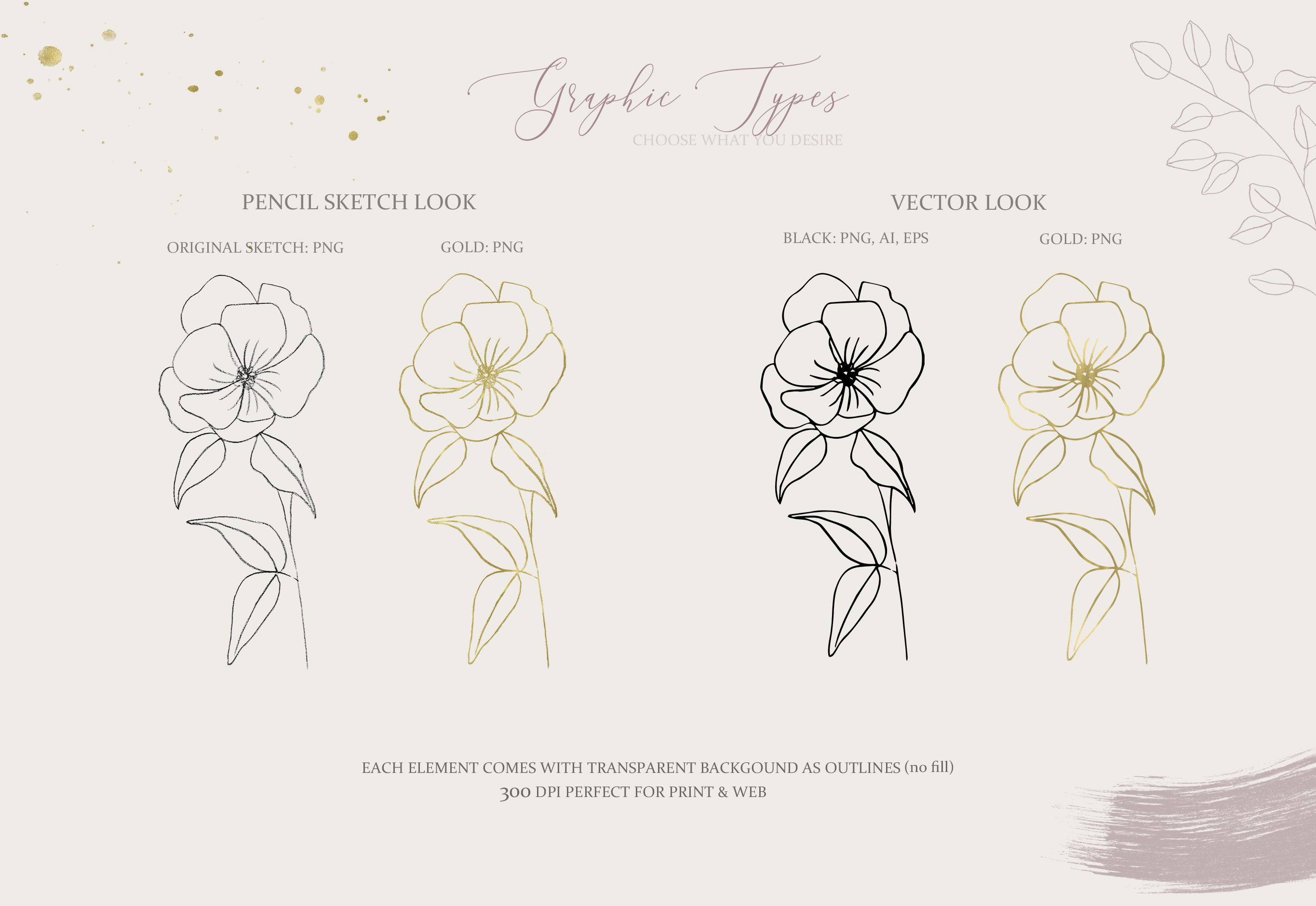 Fine Art Pencil Sketch Florals, Gold Brush Strokes, Textures example image 3