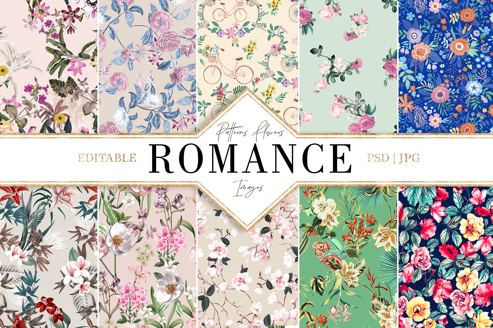 Romance|Flowers Patterns clipArt example image 1