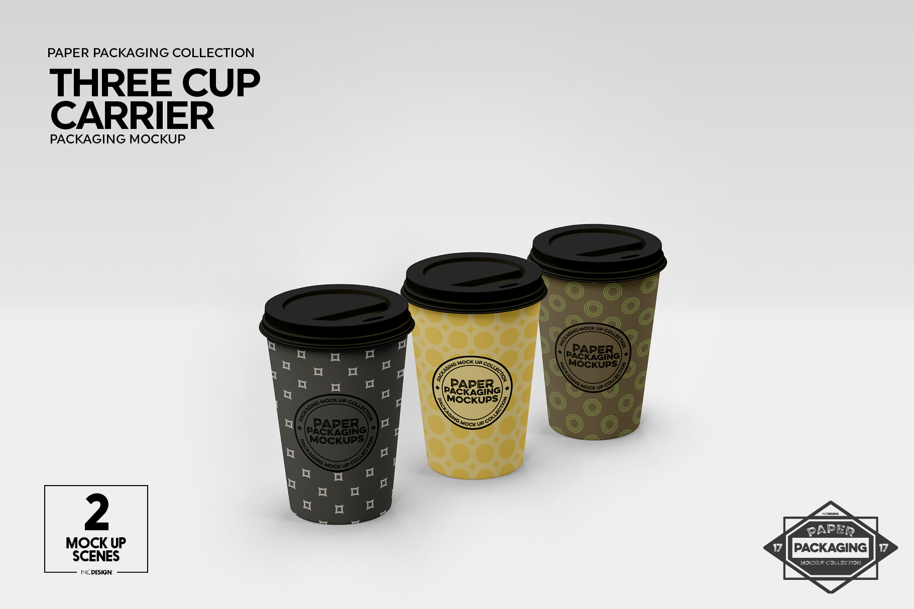 Three Cup Paper Carrier Packaging Mockup example image 5