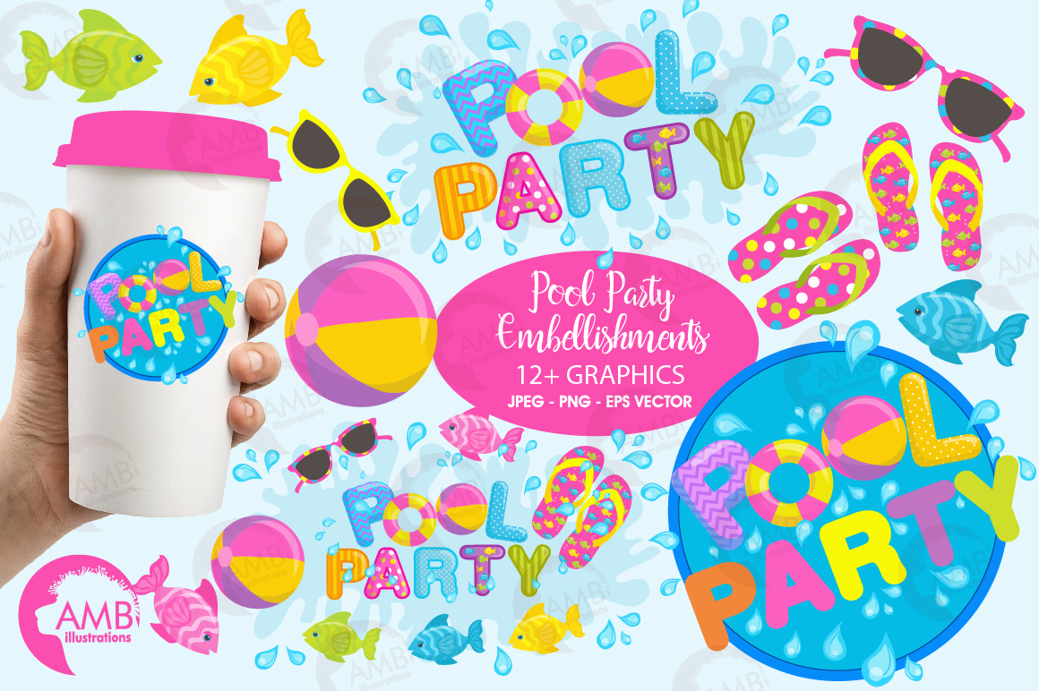 Pool party elements clipart, graphics pack AMB-902 example image 1