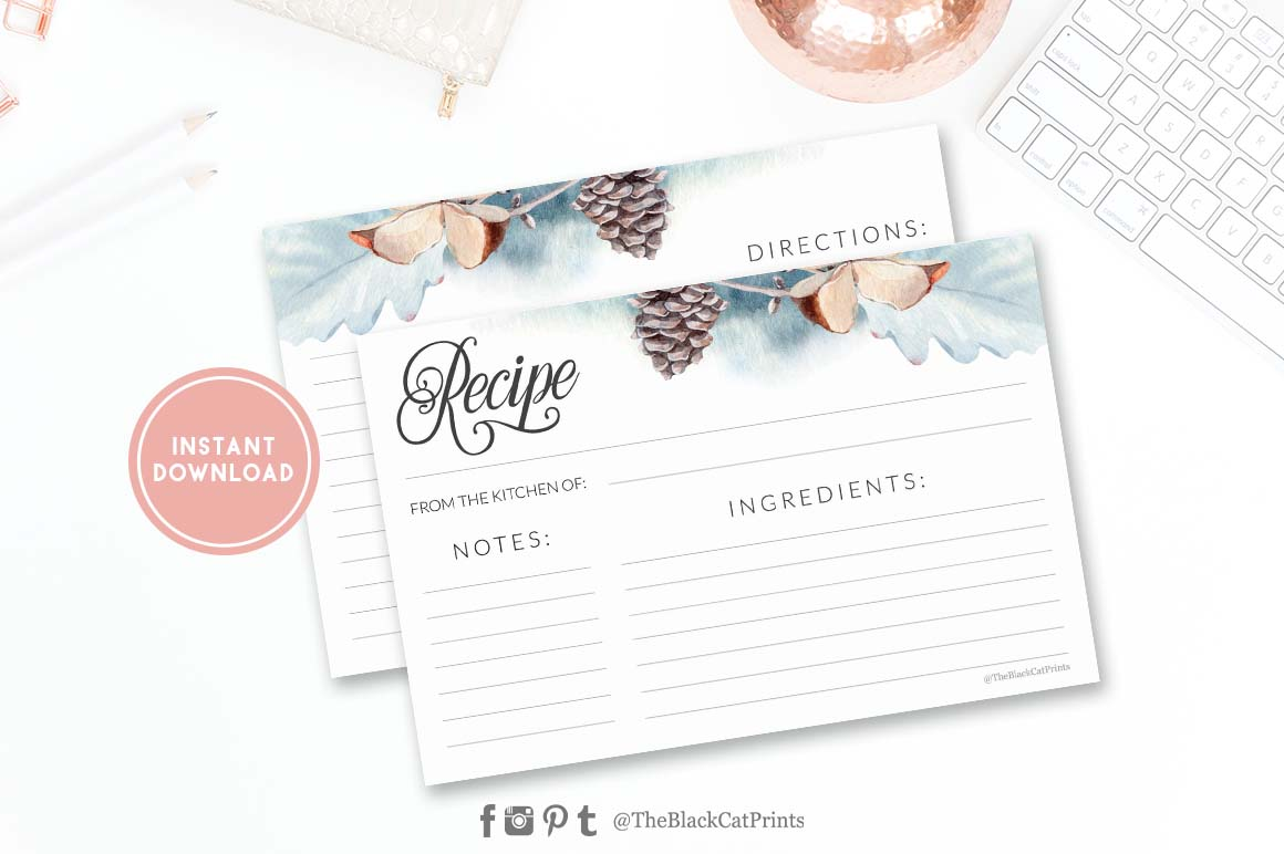 Winter Watercolor Recipe card | Printable | Double Sided example image 1