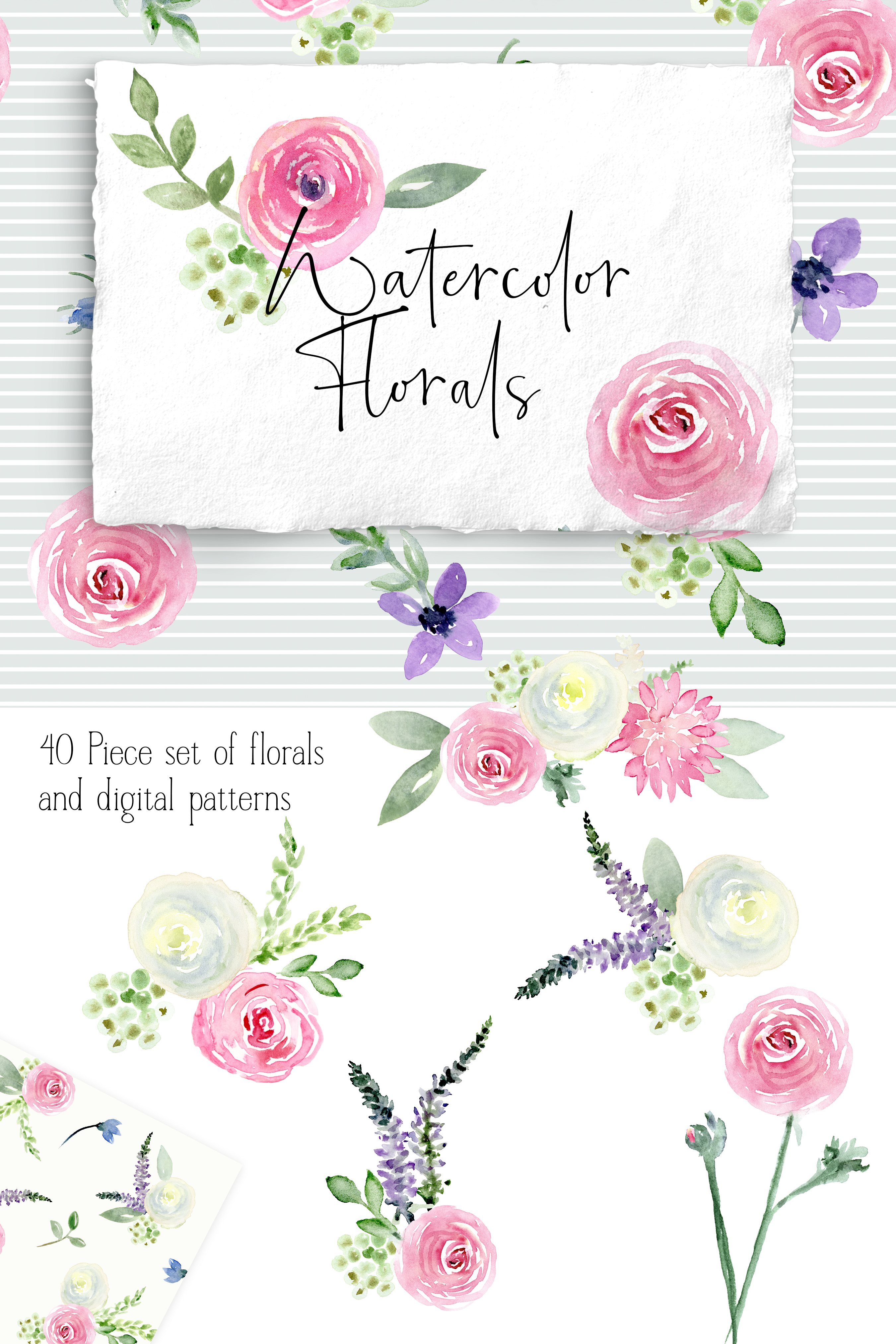 Watercolor Floral Bundle Pink, Purple Blue Flowers & Yellow example image 11