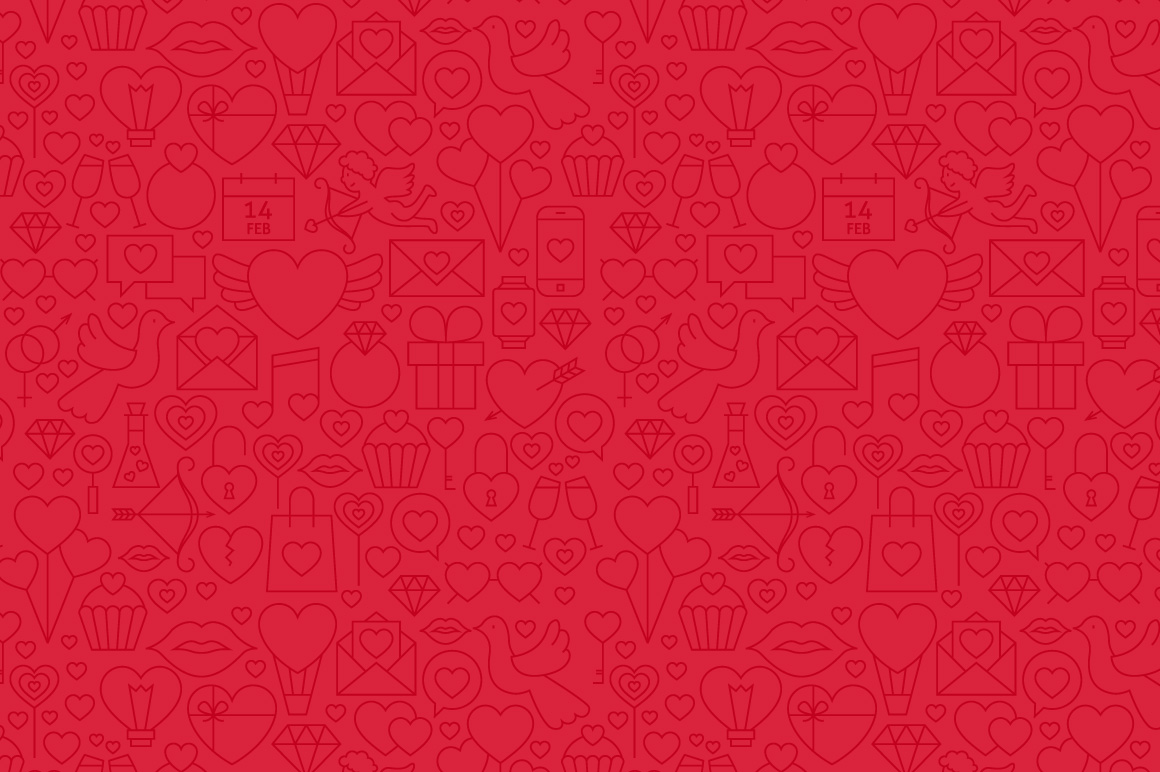 Valentine's Day Line Seamless Patterns example image 5
