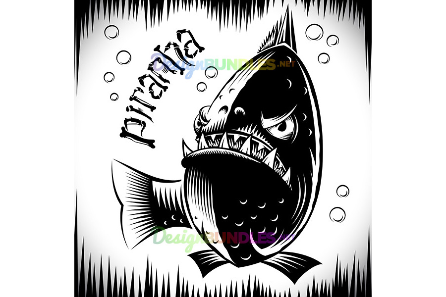 Vector Fish Piranha Ink Hand Drawing Tattoo Print Character Cartoon example image 1