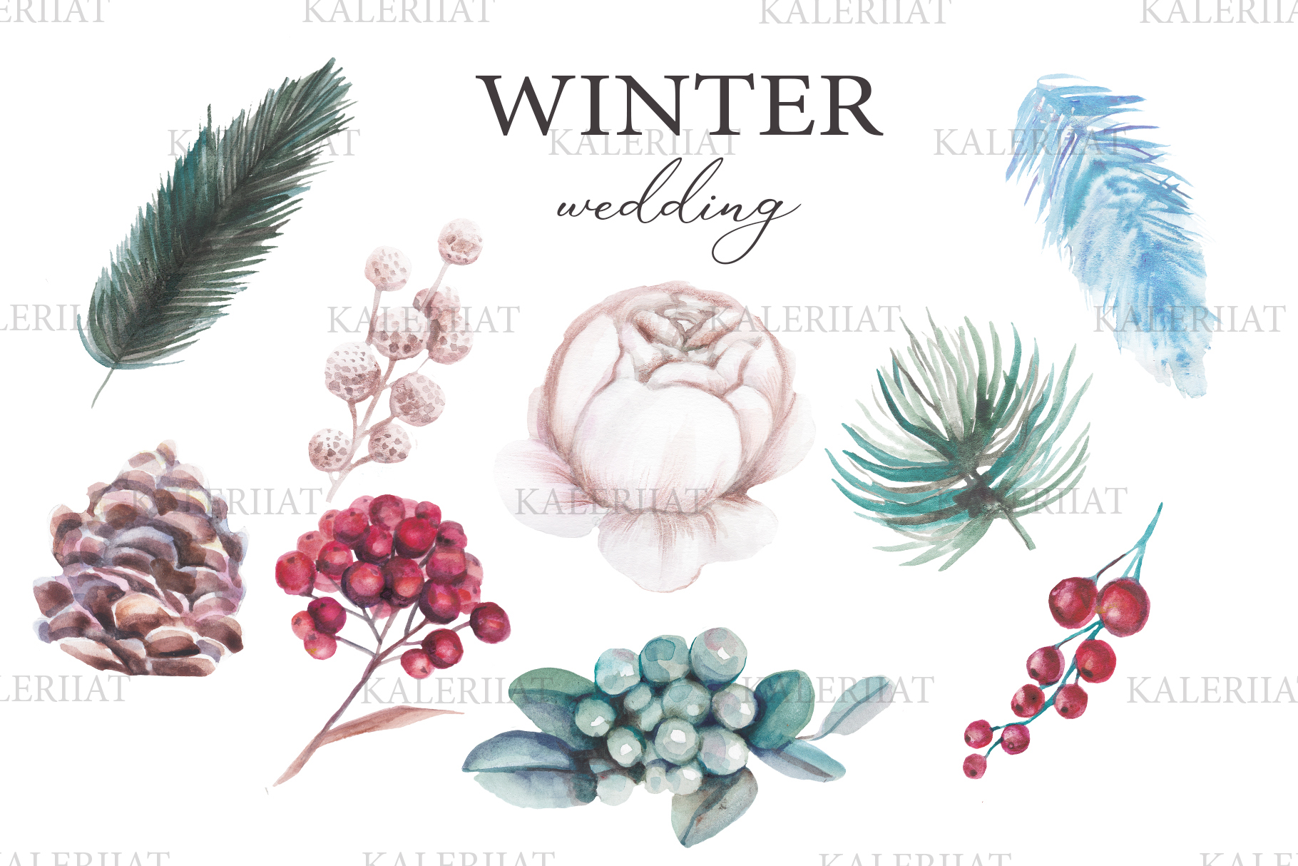 Watercolor winter wedding floral clipart example image 1