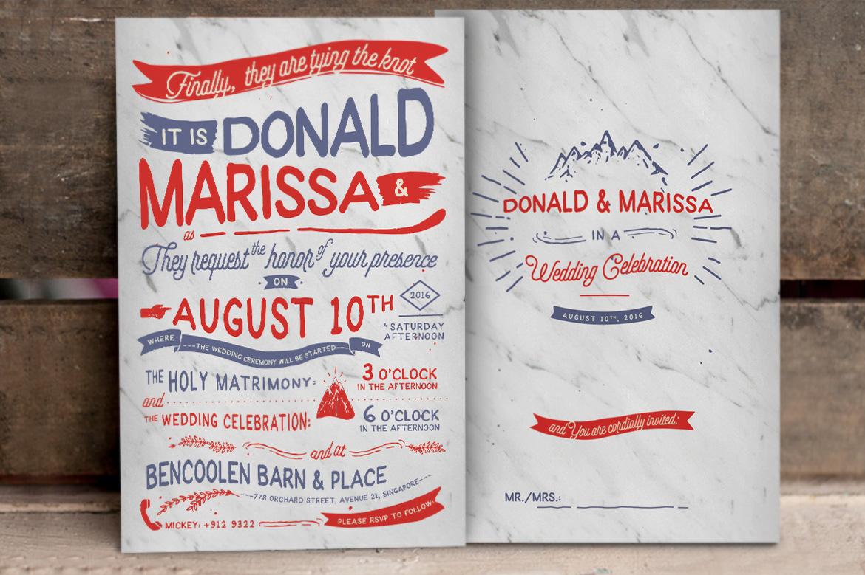 Vintage Hand Lettering Wedding Invitation Vol II example image 4