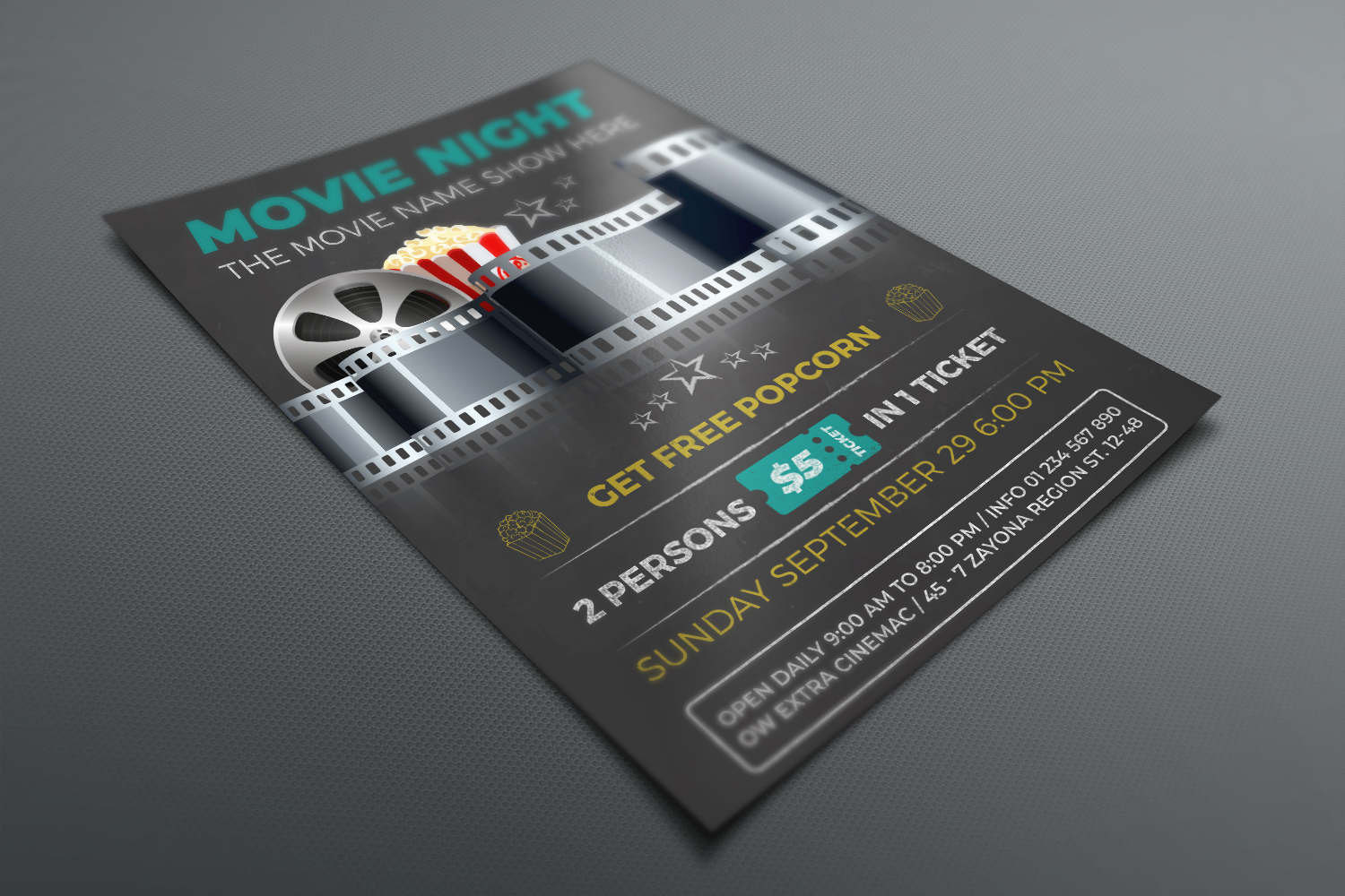 Movie Night - Movie Time Flyer Template example image 3