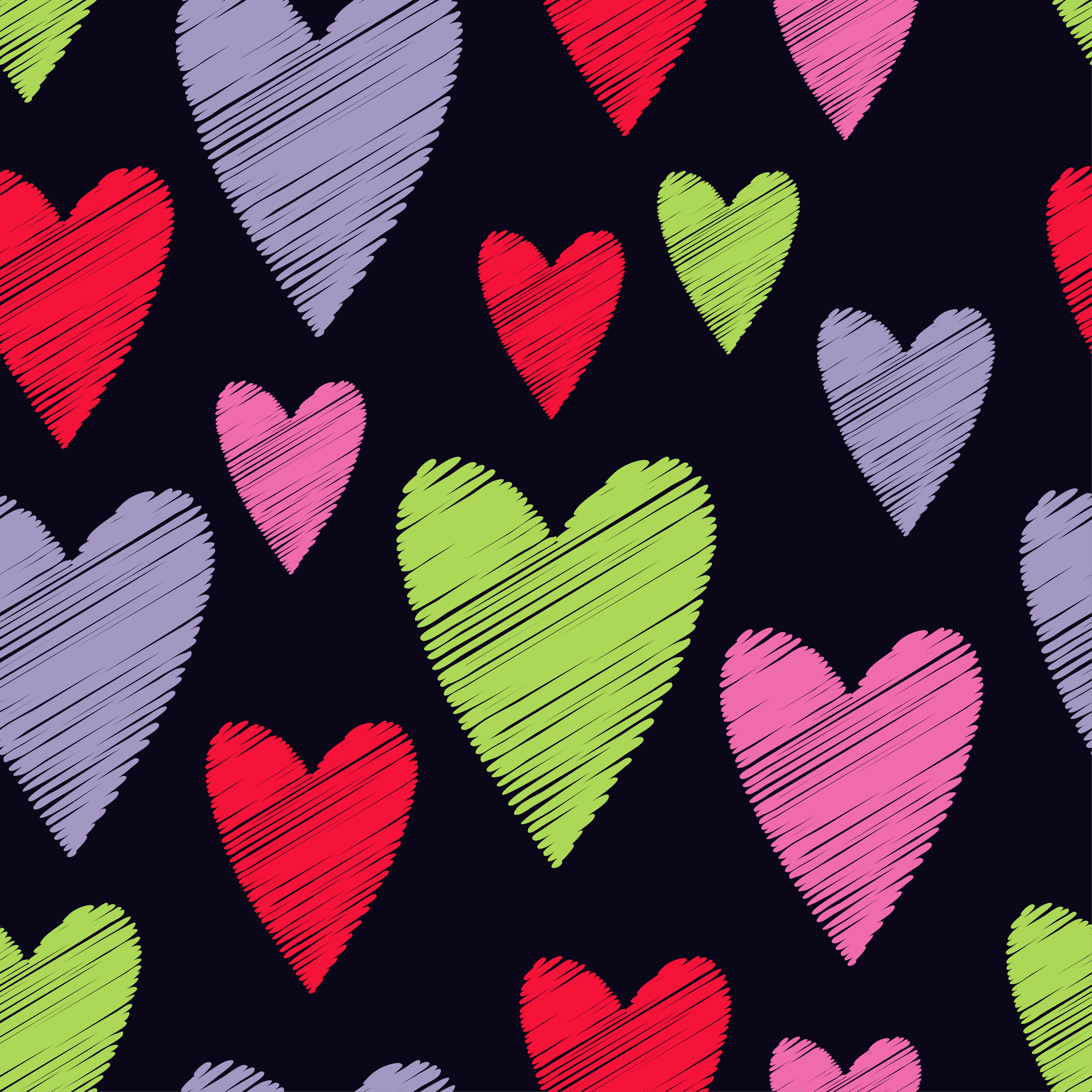Seamless vector background with decorative hearts. Valentine's day. example image 1
