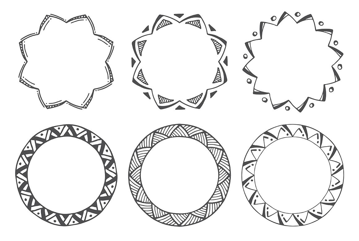 90 Hand Drawn Decorative Round Frames example image 12