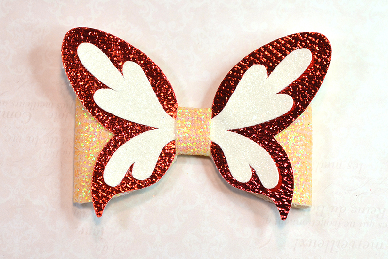 4 Hair bow template SVG, Butterfly faux leather bow template example image 4