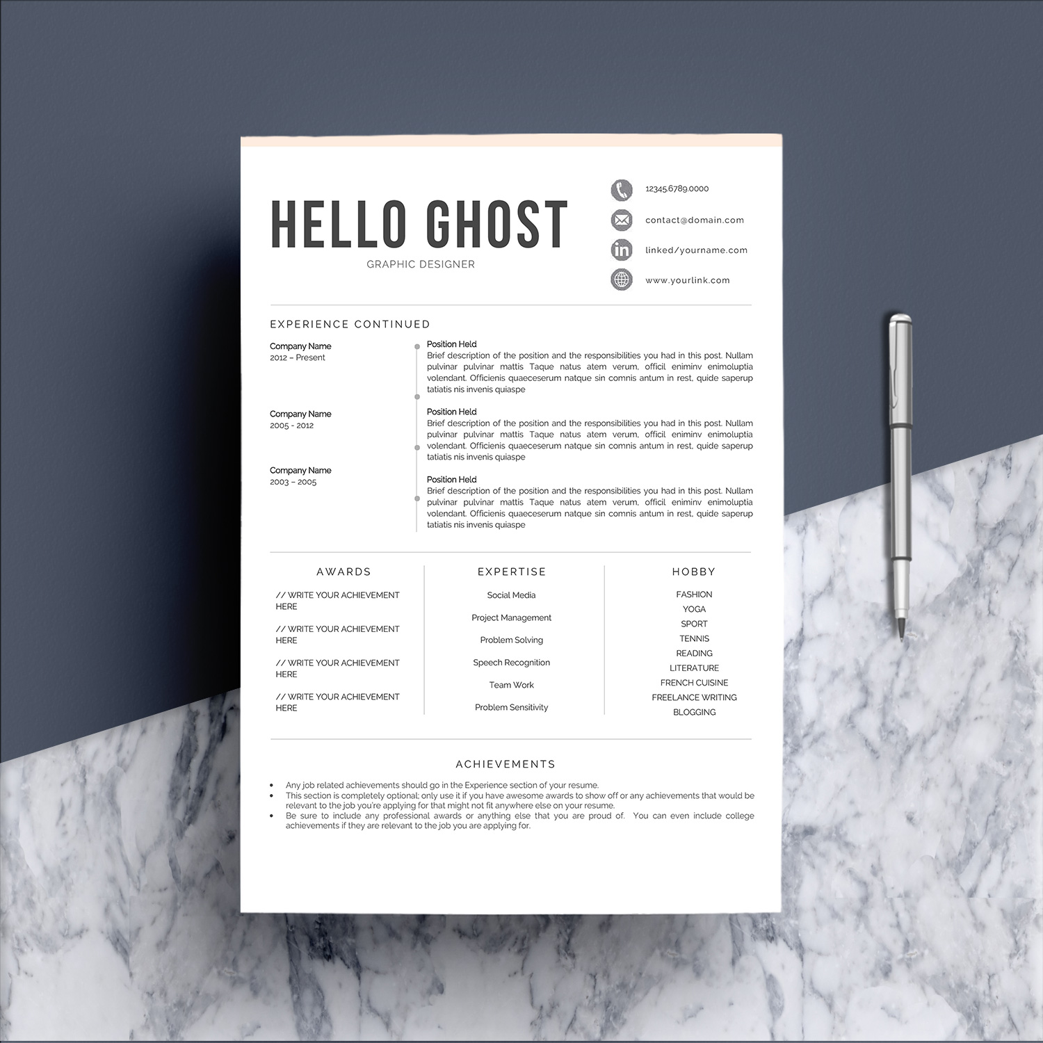 Modern Resume Template 4 Pages Design example image 3