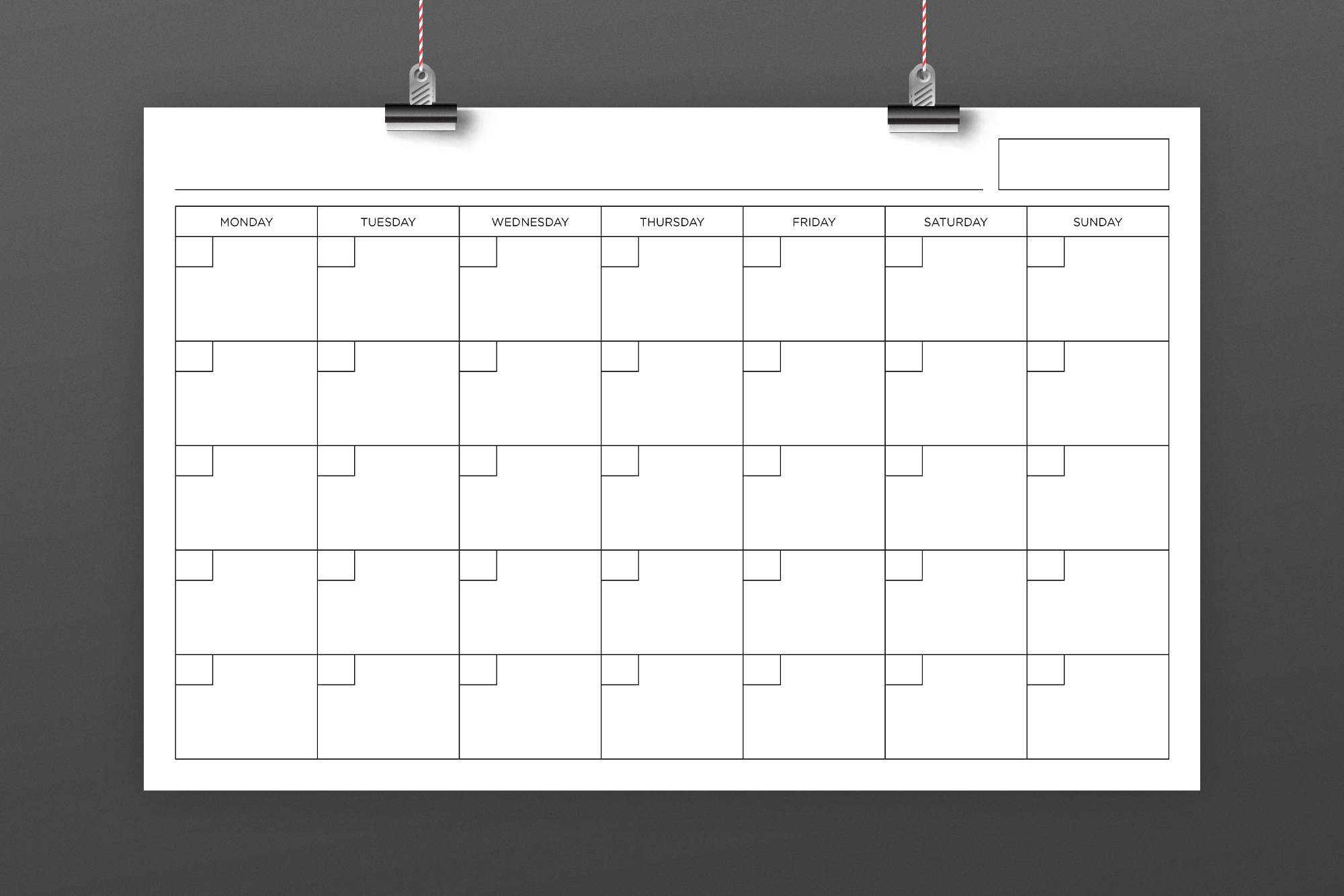 Blank Calendar Page Template Set example image 4