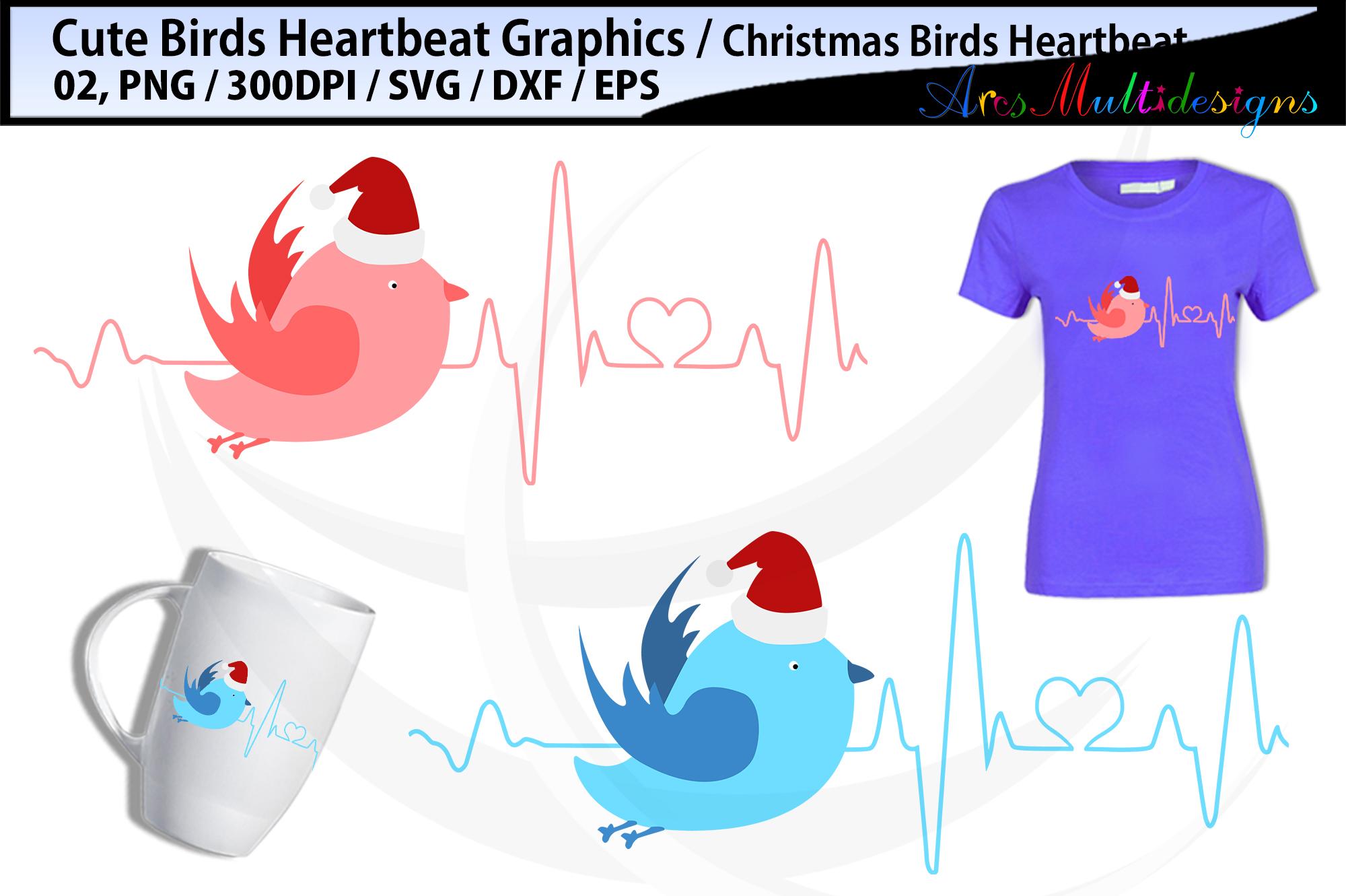 Christmas bird heartbeat SVG / Bird Heartbeat svg Graphics example image 1