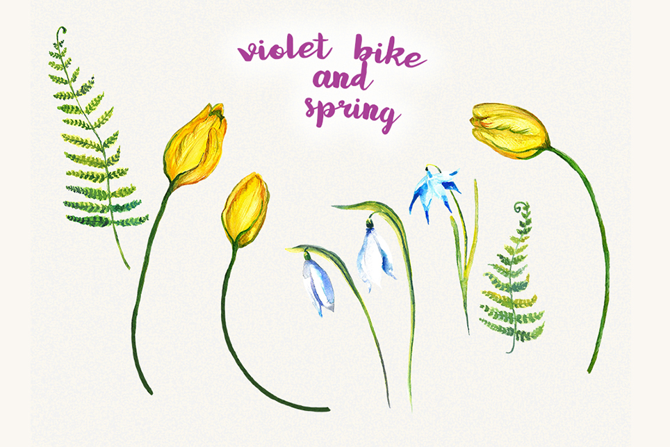 Bike clipart, Bicycle clipart, Spring flower clipart example image 3