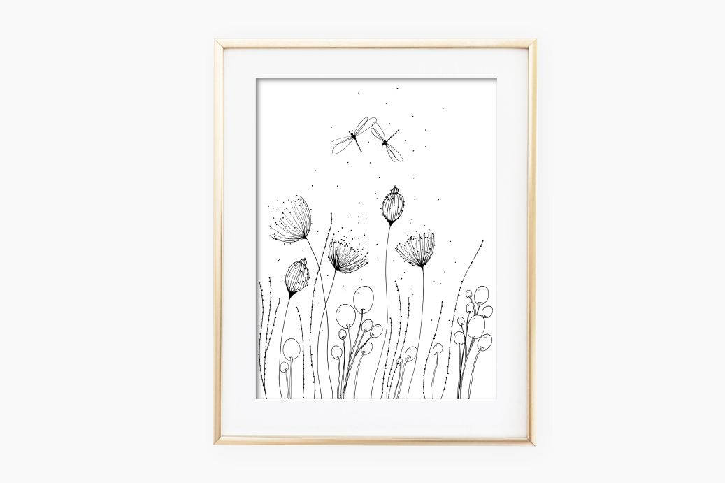 Flowers with Lines and Dots, A1, SVG example image 2