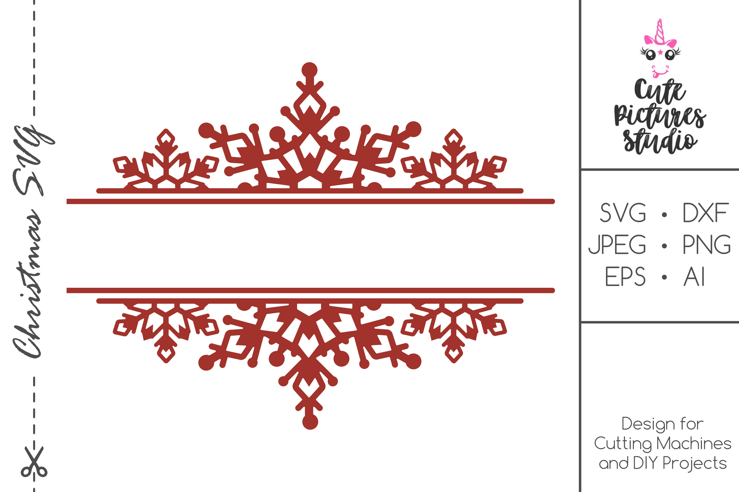 Christmas Monogram Frame With Snowflakes Svg Cut File
