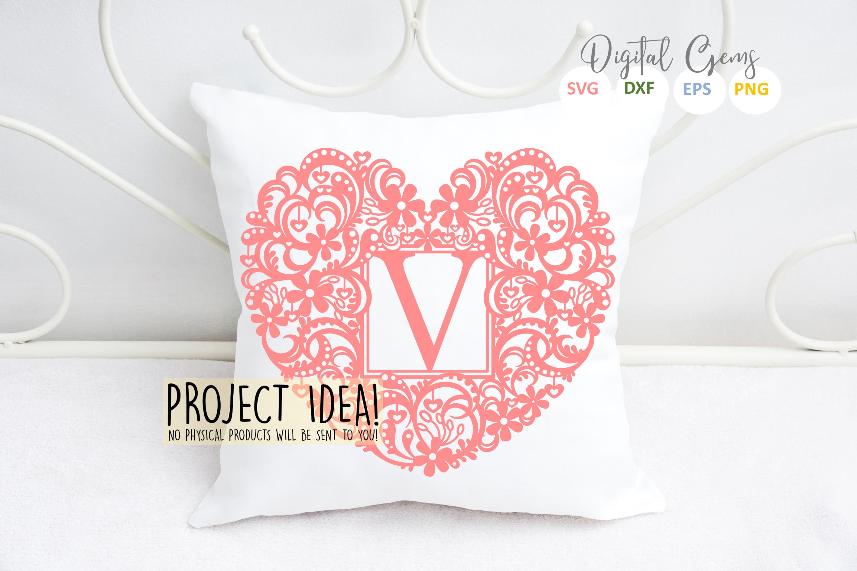 Letter V paper cut design. SVG / DXF / EPS / PNG files example image 3
