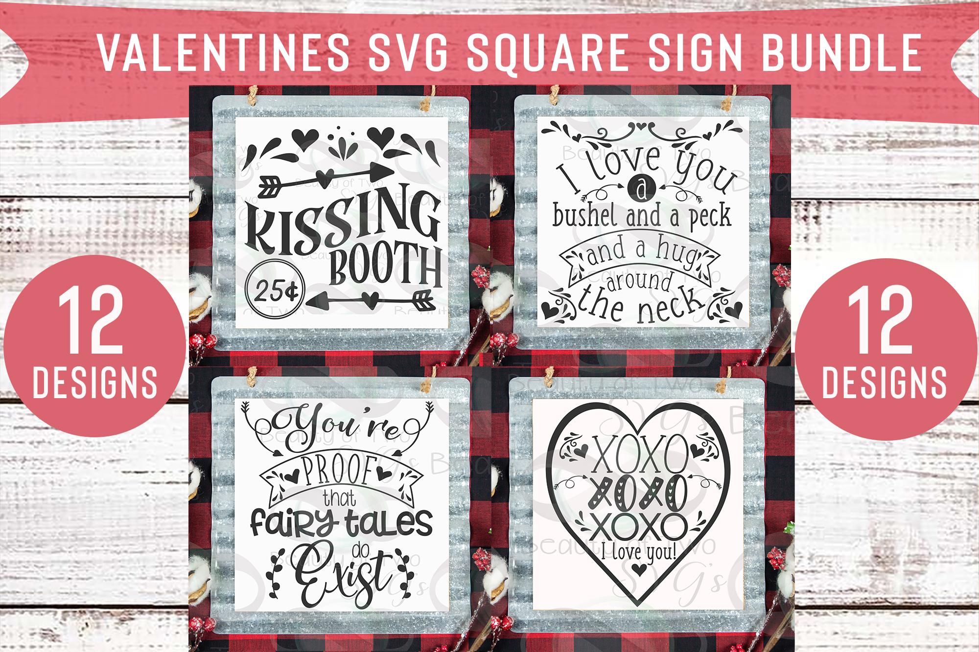 Valentines Square Svg Sign Bundle, 12 svg Valentines Designs example image 3