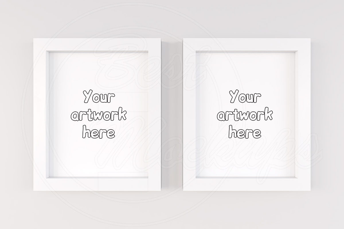Two vertical white frames mock up example image 1