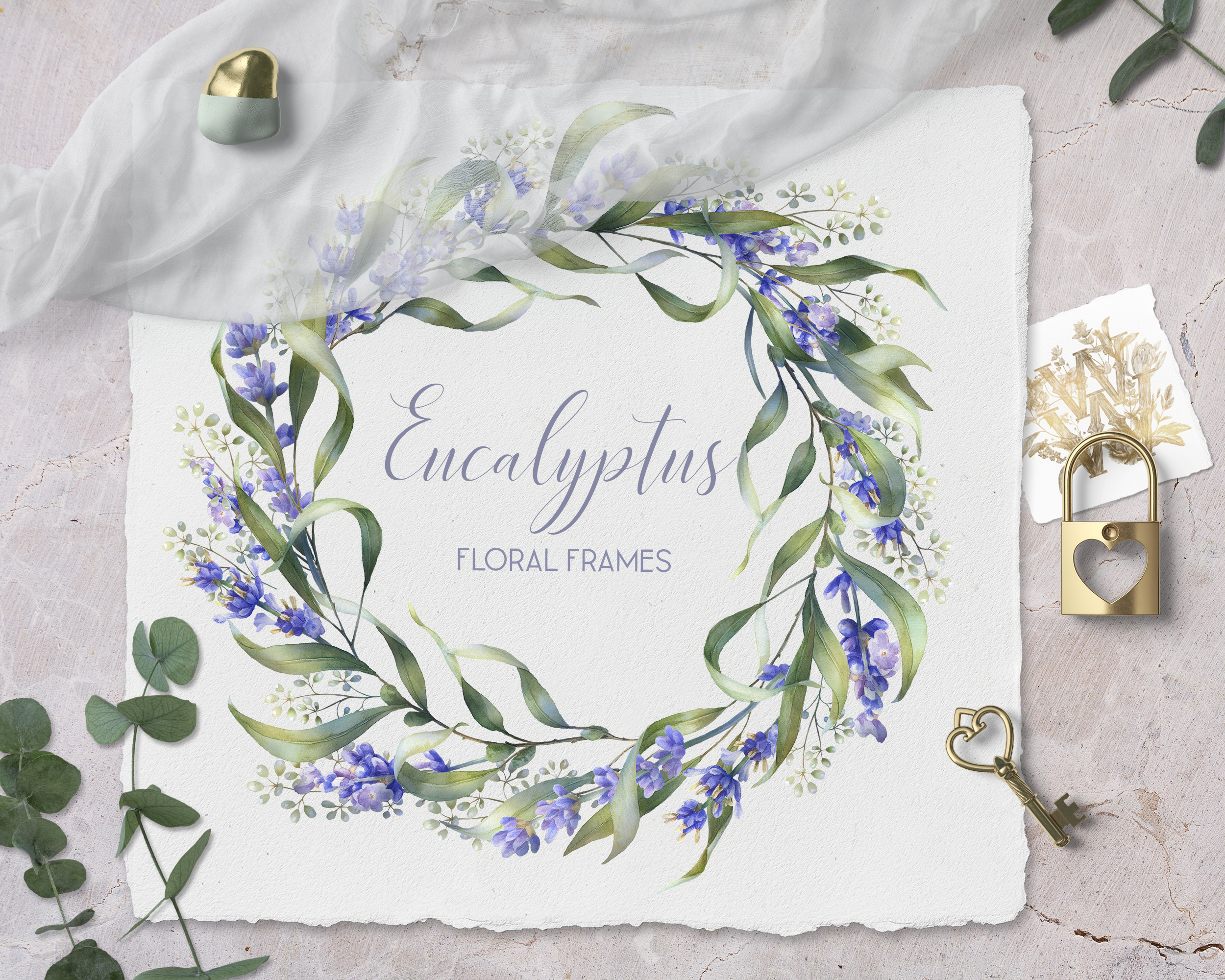 Watercolor Eucalyptus greenery collection clip art example image 14