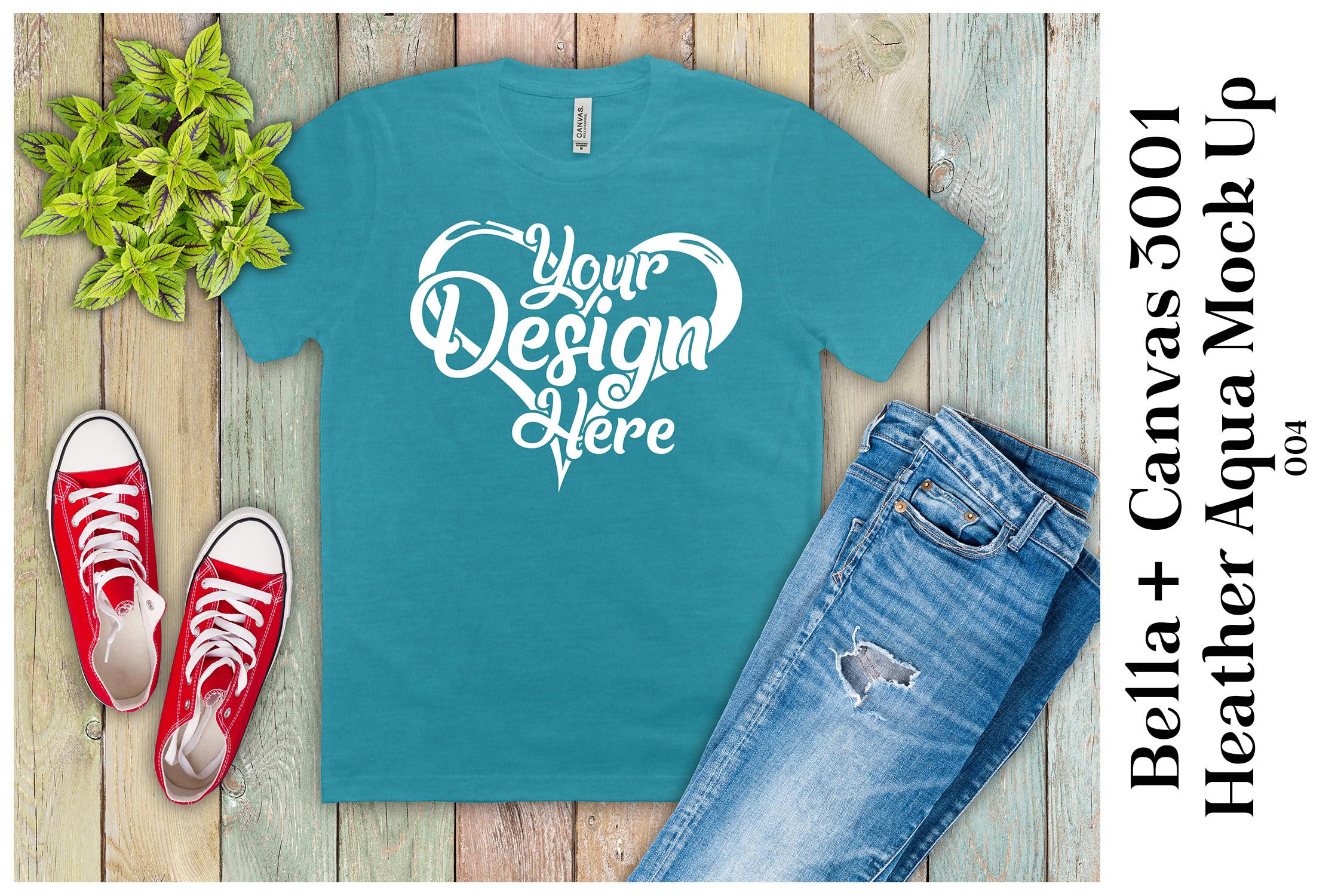Mens T-Shirt Mockup Heather Aqua Bella Canvas 3001 Mock Up example image 1