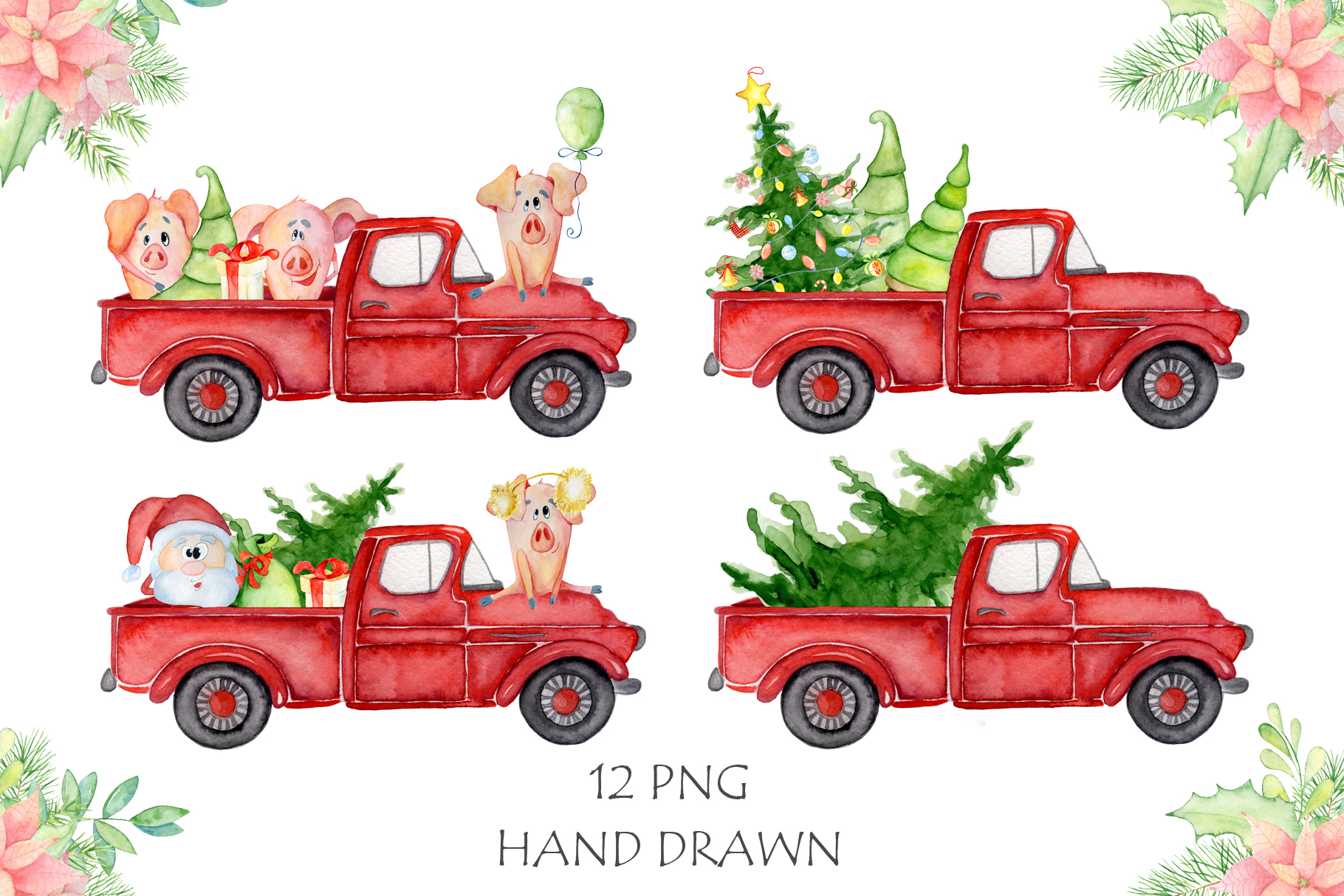 Christmas truck with xmas trees, sants and cute pigs example image 2