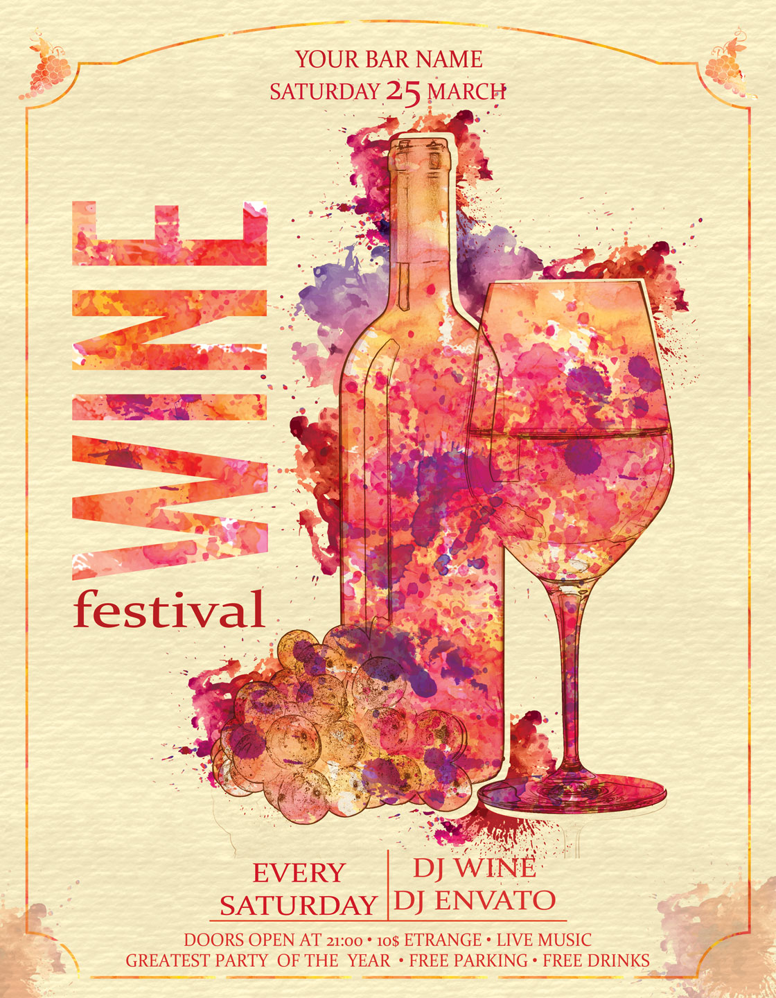 Wine Festival Flyer Poster Vintage example image 4