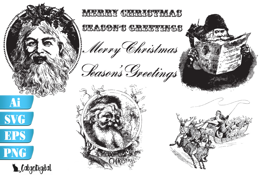 Vintage Santa Claus Christmas SVG EPS Ai PNG example image 1