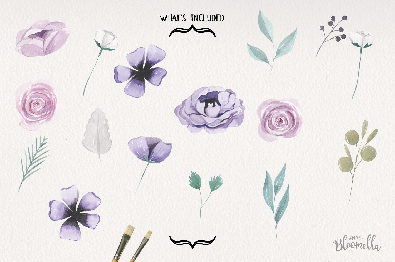 Lilacs 16 Watercolor Elements Florals Berries Flowers Purple example image 4