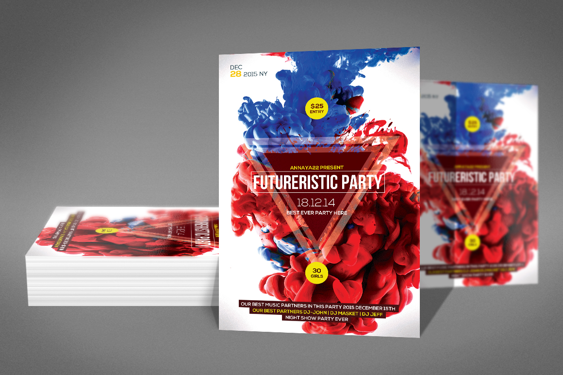 Smoke Futurristic Party Flyer example image 2