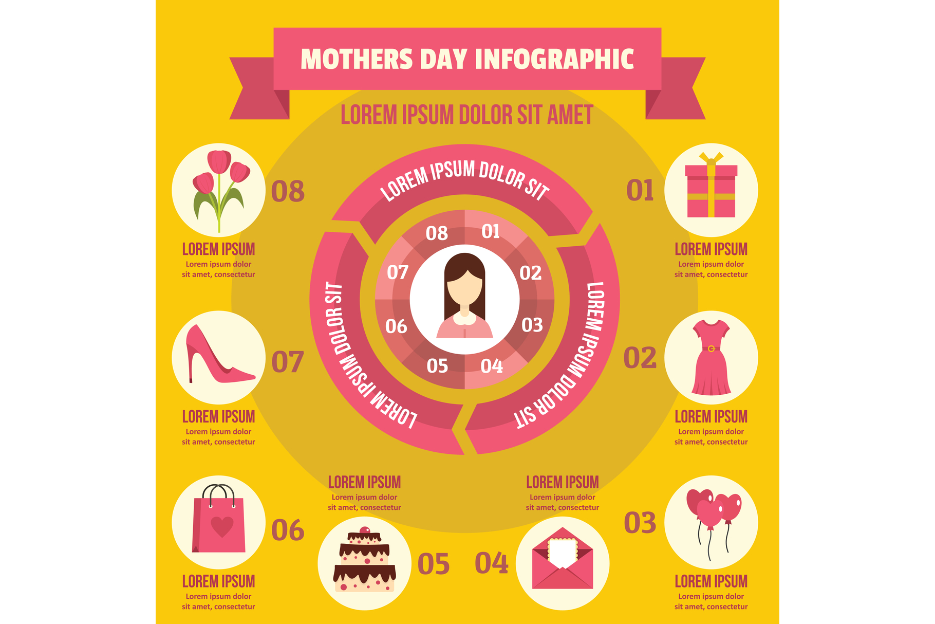 Mothers day infographic concept, flat style example image 1