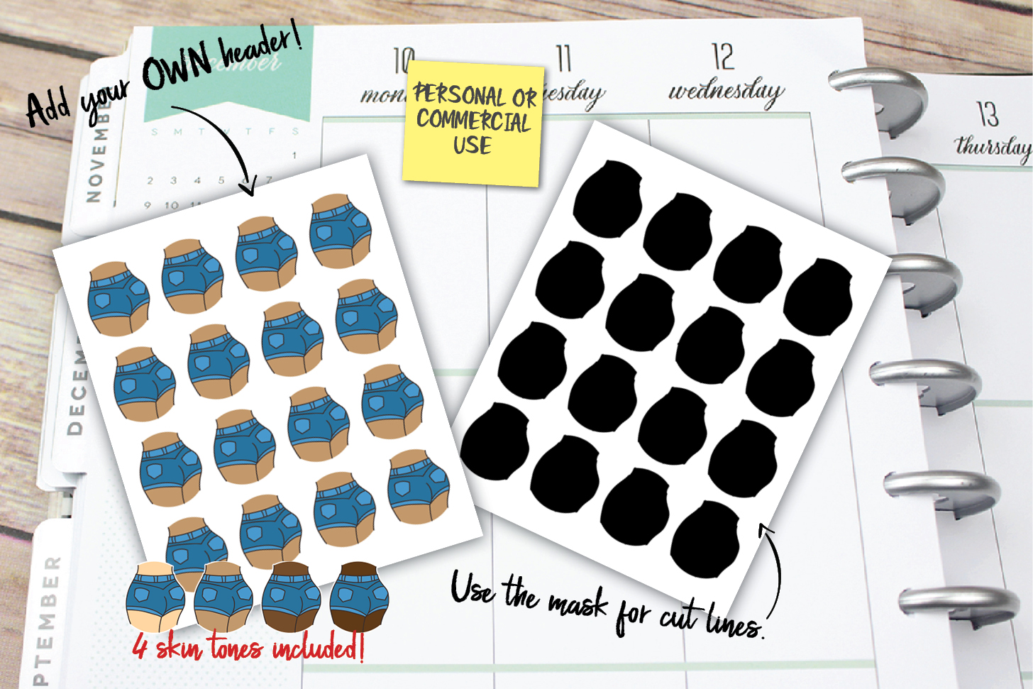 Booty Work Planner Stickers example image 1