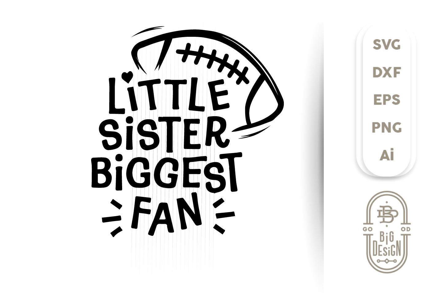 Football SVG - Little sister biggest fan svg saying example image 5