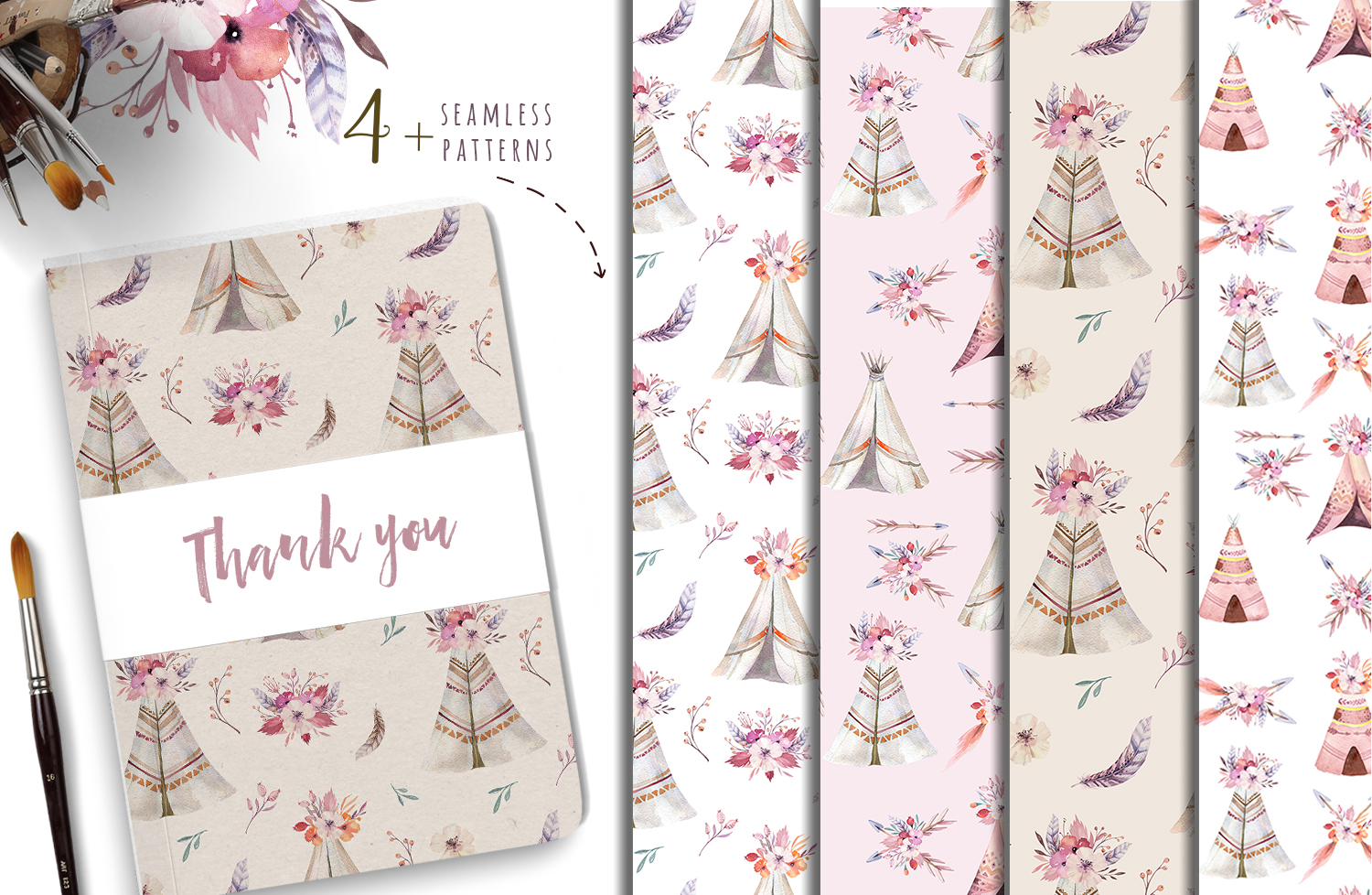 Watercolor teepee collection example image 12