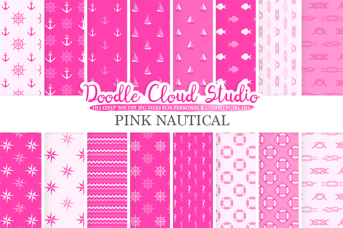 Pink Nautical digital paper, Seal patterns Ocean Steering wheel Sea waves Anchors backgrounds Instant Download for Personal & Commercial Use example image 2
