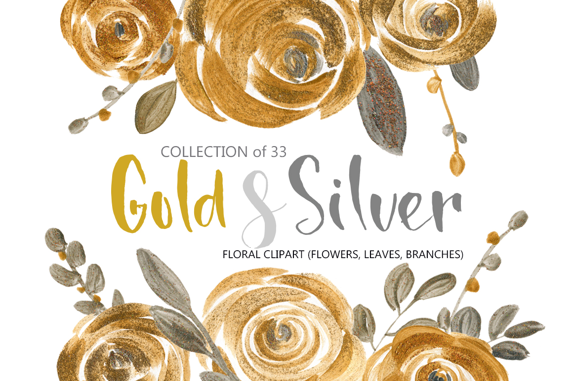 Gold & silver flowers and leaves example image 1