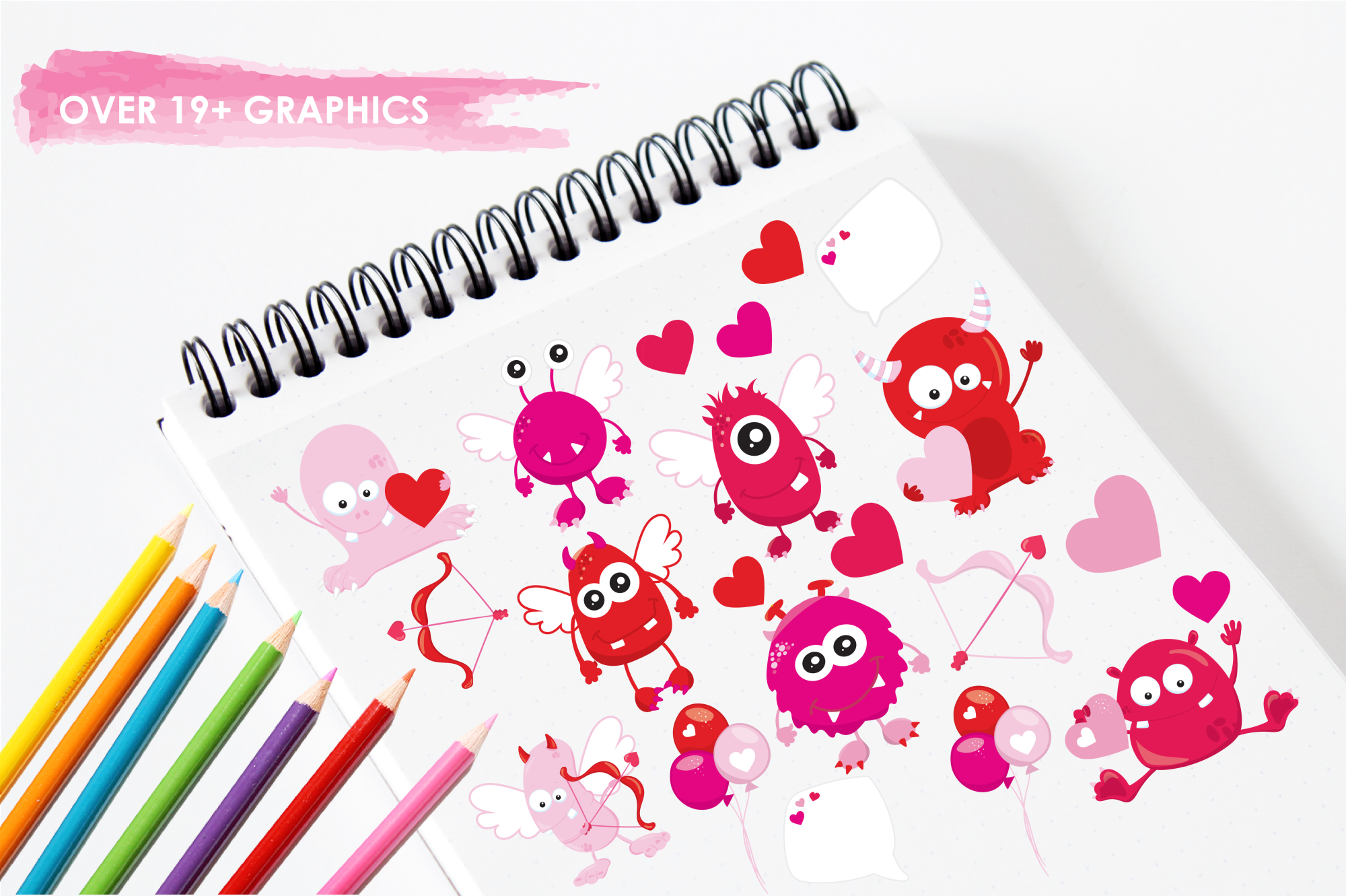 Valentine Monsters graphics and illustrations example image 3