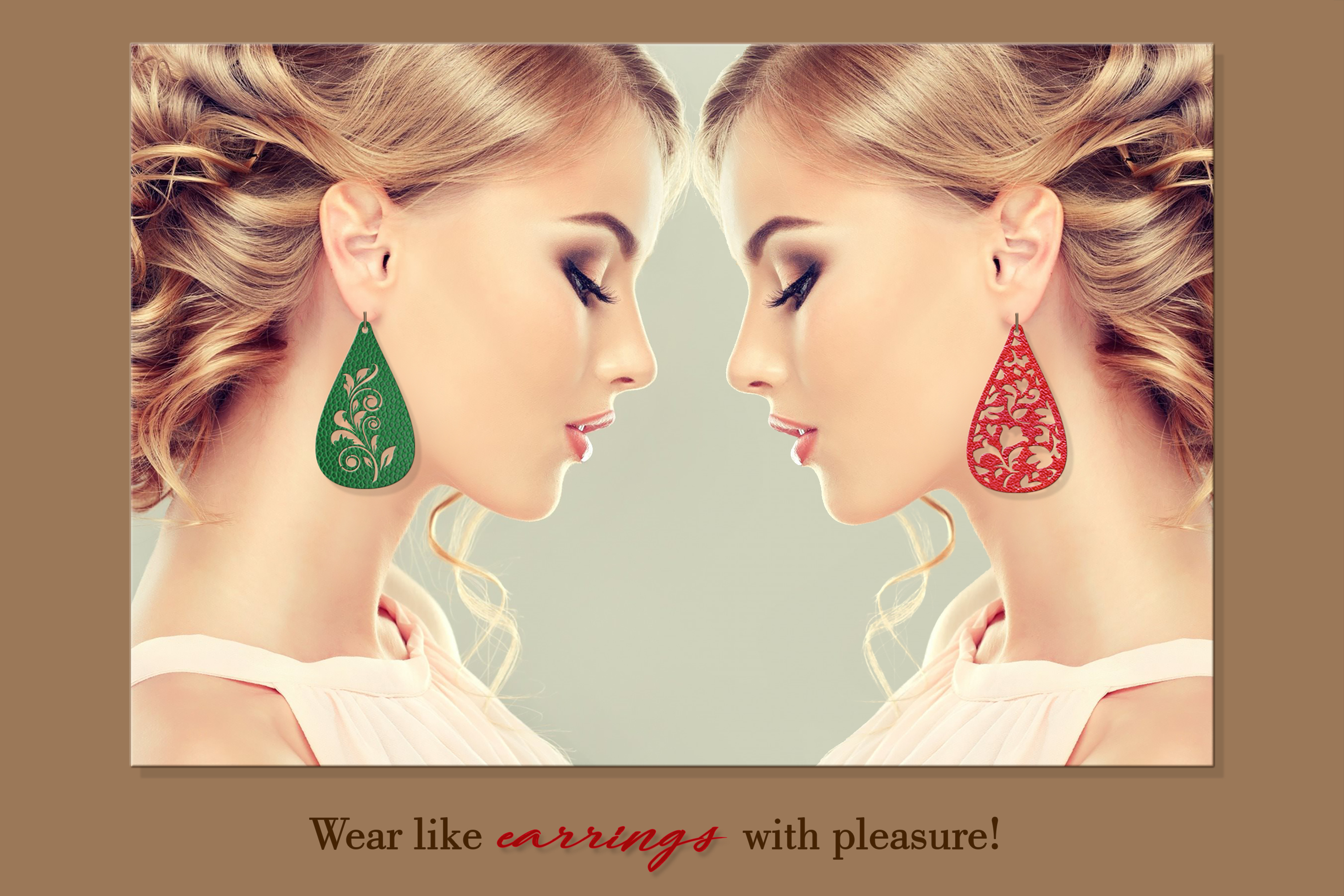 9 Leather earring svg Teardrop earring Nature earrings svg example image 5