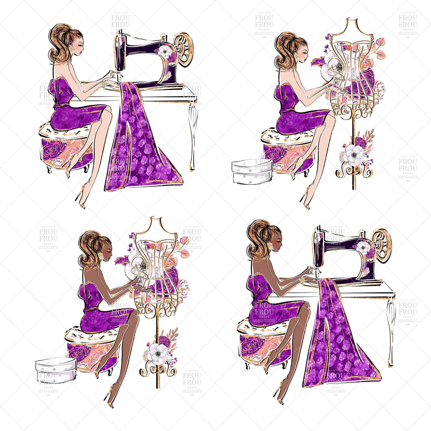 Fashion Designer Sewing Gold Glitter Clip Art example image 3