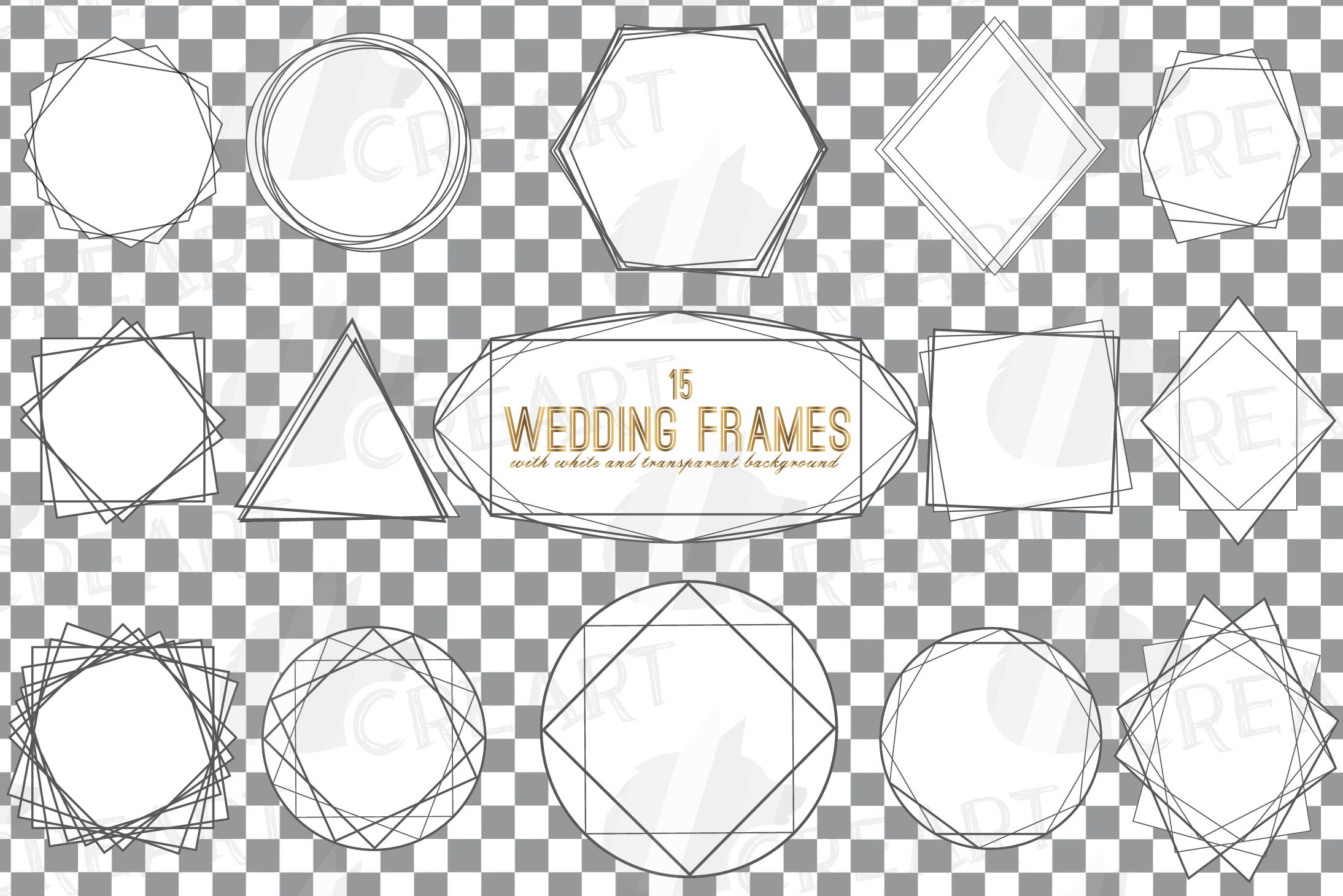 Geometric lineal black frames decor clip art. Wedding border example image 4