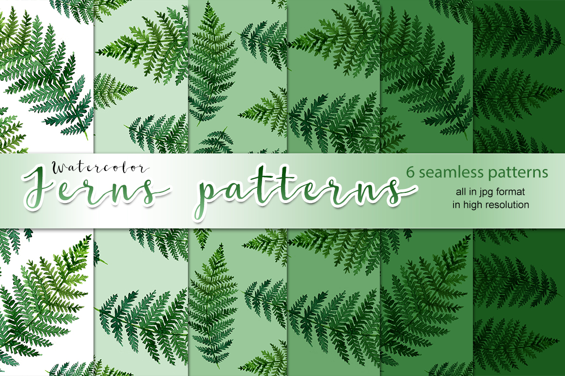Watercolor ferns patterns example image 1