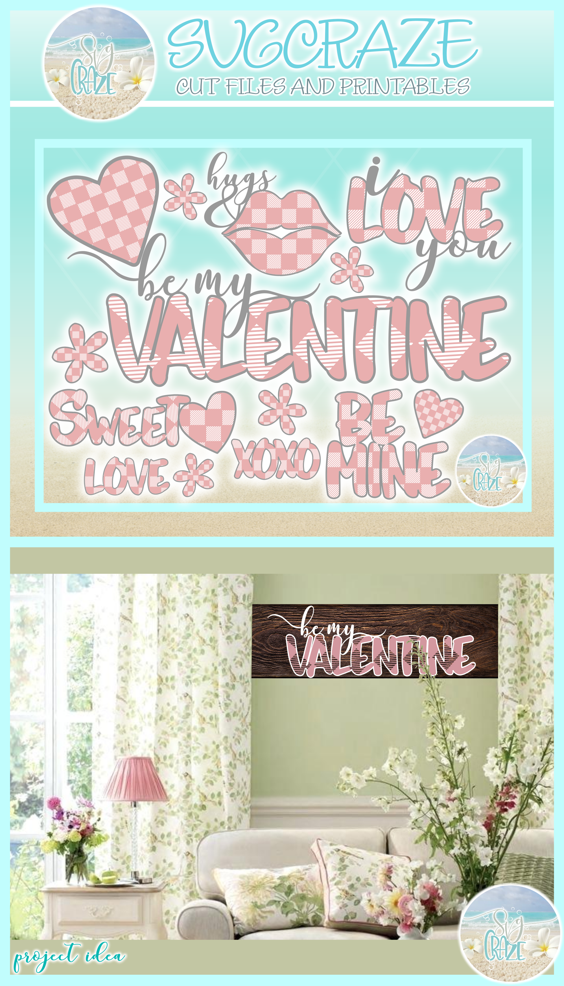 Valentines Day Plaid Bundle Svg Dxf Eps Png Pdf Files example image 4